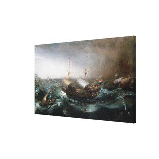 Dutch Merchant Vessels and a Smalschip Accompanied Canvas Print