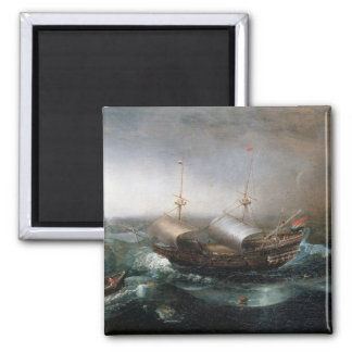 Dutch Merchant Vessels and a Smalschip Accompanied Magnet