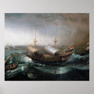 Dutch Merchant Vessels and a Smalschip Accompanied Poster