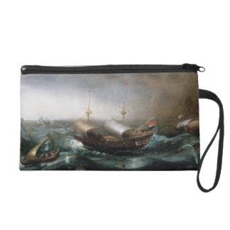 Dutch Merchant Vessels and a Smalschip Accompanied Wristlet