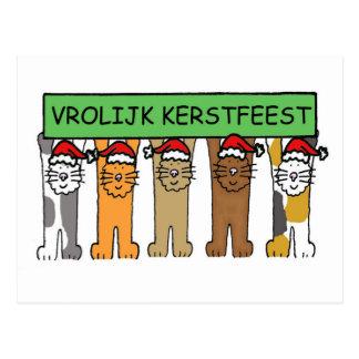 Dutch Merry Christmas cartoon cats. Postcard