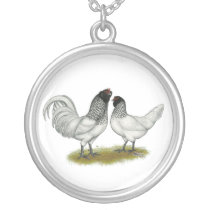 Dutch Owl Beard Chickens Silver Plated Necklace