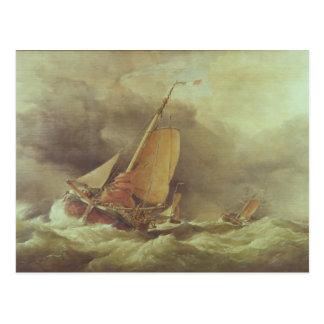 Dutch Pincks Running to Anchor off Yarmouth Postcard