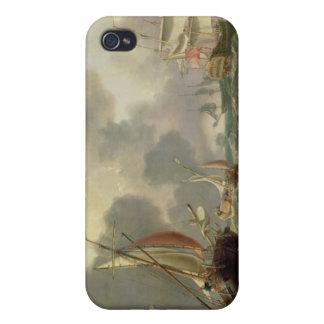 Dutch Pinks and a British Frigate in Choppy Seas iPhone 4 Cover