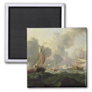 Dutch Pinks and a British Frigate in Choppy Seas Magnet
