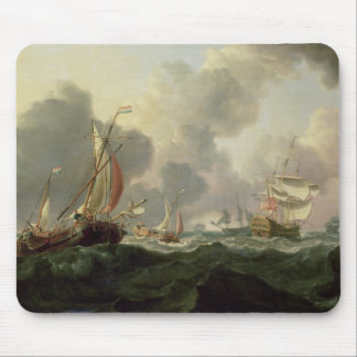 Dutch Pinks and a British Frigate in Choppy Seas Mouse Pad