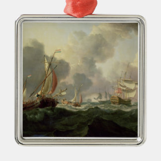 Dutch Pinks and a British Frigate in Choppy Seas Christmas Ornament