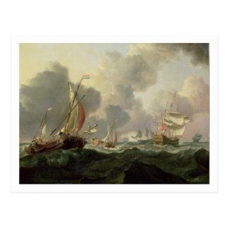 Dutch Pinks and a British Frigate in Choppy Seas Postcard