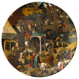 Dutch Proverbs by Pieter Bruegel the Elder Dinner Plate