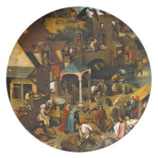 Dutch Proverbs by Pieter Bruegel the Elder Melamine Plate