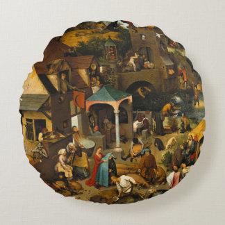 Dutch Proverbs by Pieter Bruegel the Elder Round Pillow