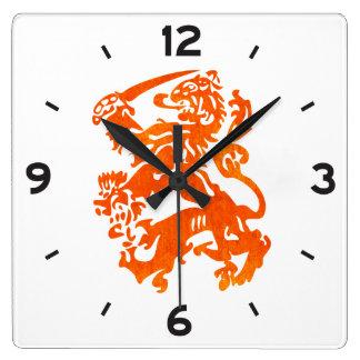 Dutch Republic Lion Square Wall Clock