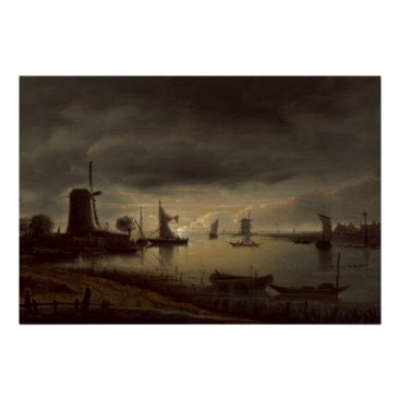 Art Themed Dutch River Scene with Windmill by van Borssom Poster