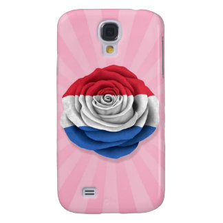 Dutch Rose Flag on Pink Galaxy S4 Cover
