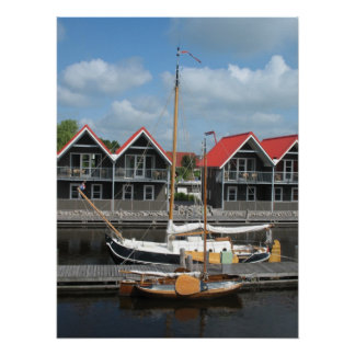 Dutch Sailing Boats Row Houses Photo Poster Print