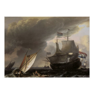 Dutch Sailing Ships on a Stormy Sea c. 1690 Poster