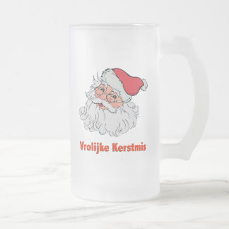 Dutch Santa Claus Frosted Glass Beer Mug
