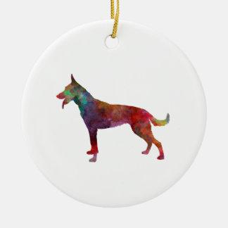 Dutch Shepherd Dog in watercolor Ceramic Ornament