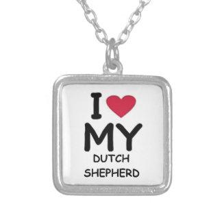 dutch shepherd love square pendant necklace