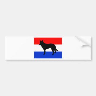 dutch shepherd silhouette flag bumper sticker