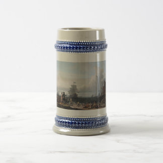 Dutch ships in the roadstead of Texel; in the midd Beer Stein