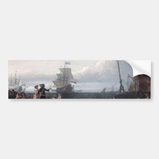 Dutch ships in the roadstead of Texel; in the midd Bumper Sticker