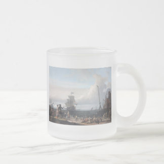Dutch ships in the roadstead of Texel; in the midd Frosted Glass Coffee Mug