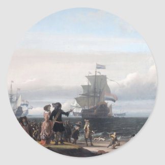 Dutch ships in the roadstead of Texel; in the midd Round Sticker