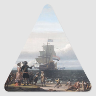Dutch ships in the roadstead of Texel; in the midd Triangle Sticker