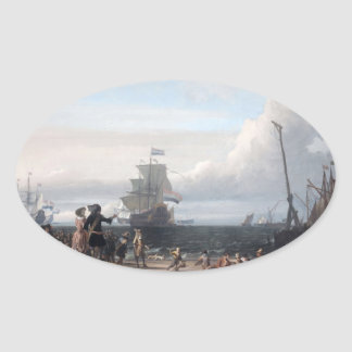 Dutch ships in the roadstead of Texel; in the midd Oval Stickers
