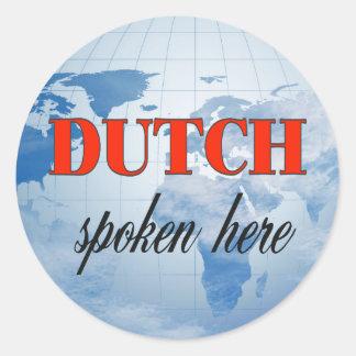Dutch spoken here cloudy earth classic round sticker
