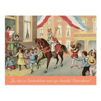 Dutch St. Nick Sinterklaas and Zwarte Piet Vintage Postcard