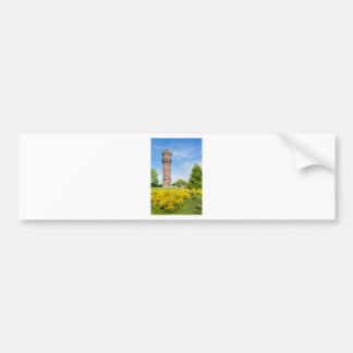 Dutch stone water tower with yellow broom flowers bumper sticker