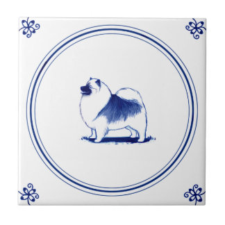 Dutch Style Keeshond Small Square Tile