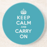 Dutch Teal Keep Calm and Carry On Drink Coaster