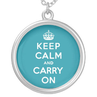 Dutch Teal Keep Calm and Carry On Round Pendant Necklace