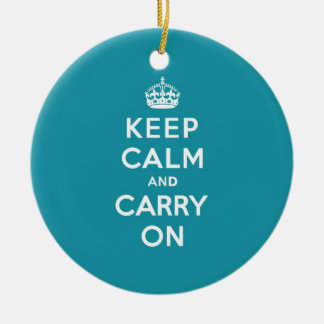 Dutch Teal Keep Calm and Carry On Round Ceramic Decoration