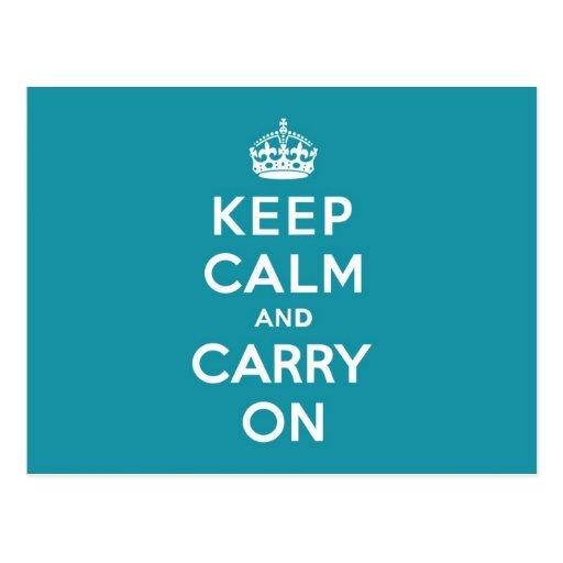 Dutch Teal Keep Calm and Carry On Post Card