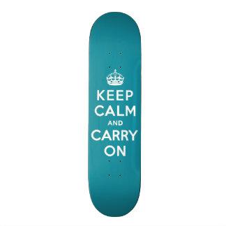 Dutch Teal Keep Calm and Carry On Skate Deck