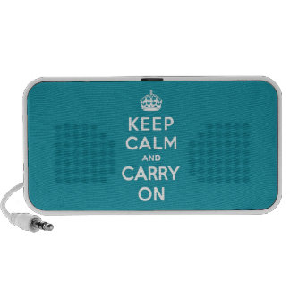 Dutch Teal Keep Calm and Carry On Mp3 Speakers