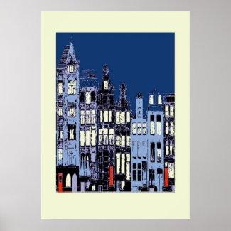 Dutch Town At Night print