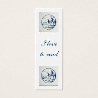 Dutch traditional blue tile bookmark mini business card