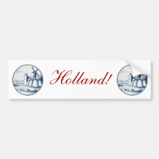 Dutch traditional blue tile bumper sticker