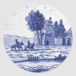 Dutch traditional blue tile classic round sticker