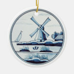 Dutch traditional blue tile Double-Sided ceramic round christmas ornament