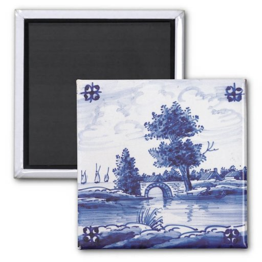 Dutch traditional blue tile fridge magnet