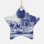 Dutch traditional blue tile christmas tree ornament