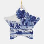 Dutch traditional blue tile christmas tree ornament