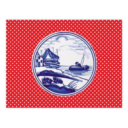 Dutch traditional blue tile postcard