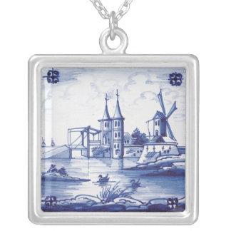 Dutch traditional blue tile square pendant necklace